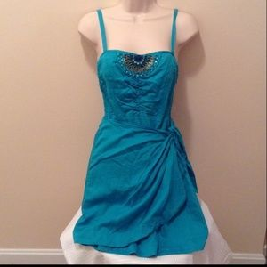 Free People teal and bling wrap sundress